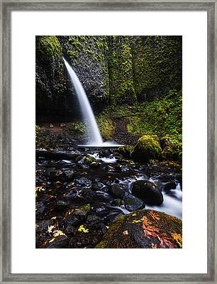 Ponytail Falls In Columbia River Gorge In Autumn Framed Print by Vishwanath Bhat
