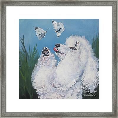 Poodle With Butterflies Framed Print by Lee Ann Shepard