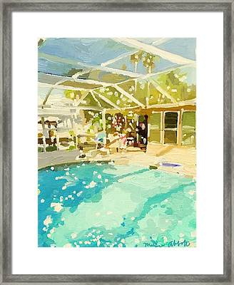 Pool And Screened Pool House Framed Print