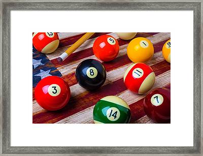 Pool Ball On American Flag Framed Print by Garry Gay