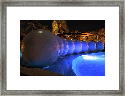 Framed Print featuring the photograph Pool Balls At Night by Shane Bechler