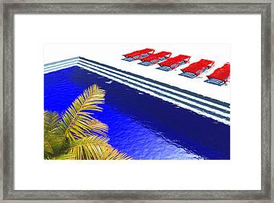 Pool Deck Framed Print by Richard Rizzo