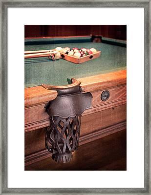 Pool Table Leather Mesh Side Pocket Framed Print
