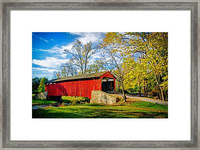 Poole Forge Covered Bridge Framed Print by Carolyn Derstine