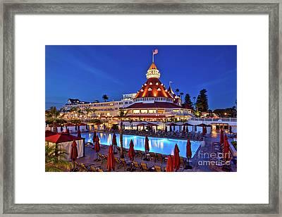 Poolside At The Hotel Del Coronado  Framed Print