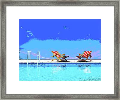 Poolside Chairs Framed Print by Charles Shoup