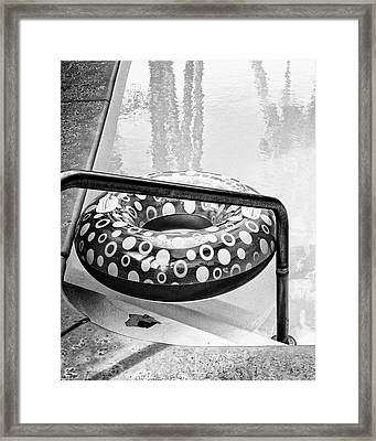Pooltime Bw Palm Springs Framed Print
