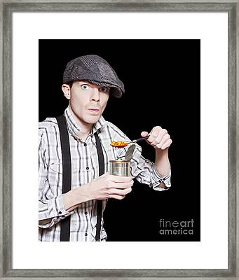 Poor Peasant Boy Eating Food From Can Over Black Framed Print by Jorgo Photography - Wall Art Gallery