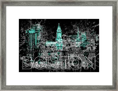 Pop Art Boston Skyline - Cyan Framed Print