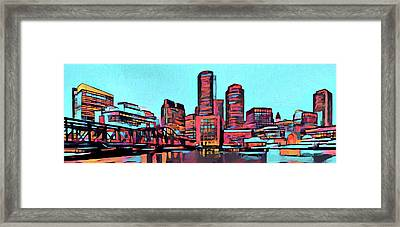 Pop Art Boston Skyline Framed Print by Dan Sproul