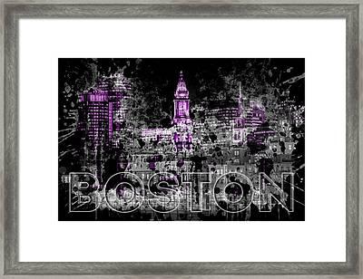 Pop Art Boston Skyline - Purple Framed Print