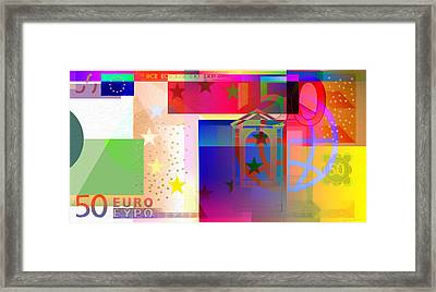 Pop-art Colorized Fifty Euro Bill Framed Print by Serge Averbukh