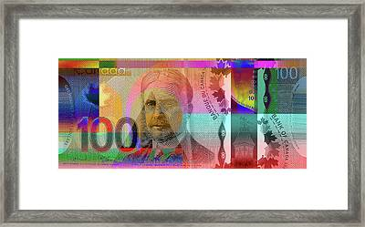 Pop-art Colorized New One Hundred Canadian Dollar Bill Framed Print by Serge Averbukh