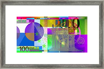 Pop-art Colorized One Hundred Euro Bill Framed Print by Serge Averbukh