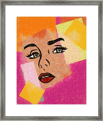 Framed Print featuring the mixed media Pop Art Comic Woman by Dan Sproul