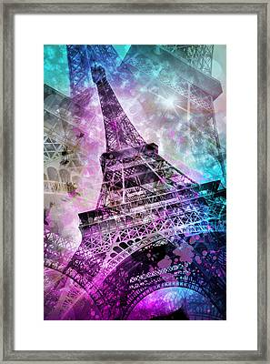 Pop Art Eiffel Tower Framed Print by Melanie Viola