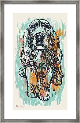 Pop Art Etching Poster - Dog   Framed Print