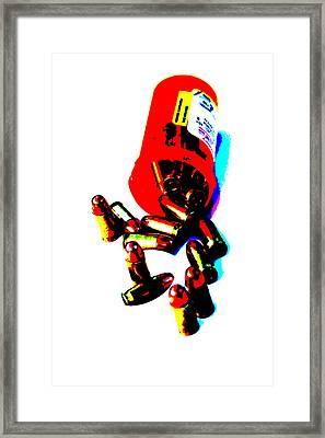 Pop Art Of .45 Cal Bullets Comming Out Of Pill Bottle Framed Print