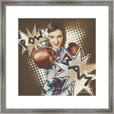 Pop Art Photo Illustration. Cartoon Comic Boxer Framed Print