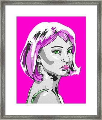 Framed Print featuring the digital art Pop Art Portman by Sarah Crumpler