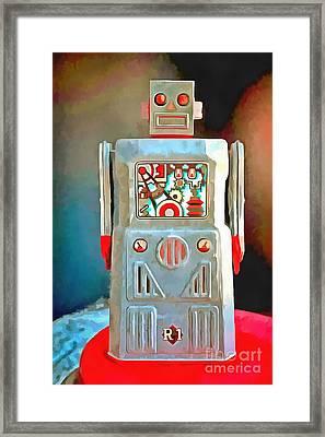 Pop Art Robot R-1 Framed Print by Edward Fielding