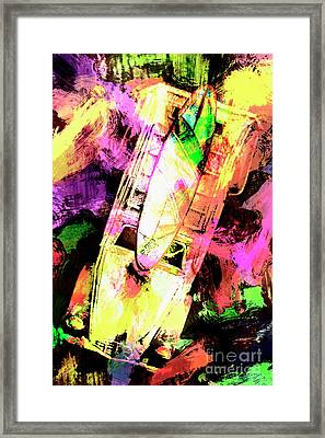 Pop Art Surf Cars And Painted Waves Framed Print