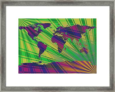 Pop Art World Map Stripes Framed Print by Dan Sproul