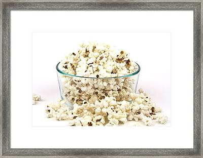 Popcorn In Glass Bowl Framed Print by Blink Images