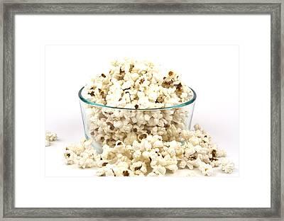 Popcorn In Glass Bowl Framed Print by Blink Images