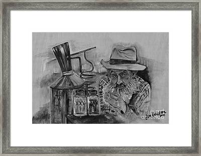 Popcorn Sutton - Black And White - Waiting On Shine Framed Print by Jan Dappen