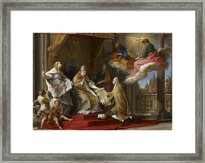 Pope Benedict Xiv Presenting The Encyclical Ex Omnibus To The Comte De Stainville Framed Print by Pompeo Girolamo Batoni