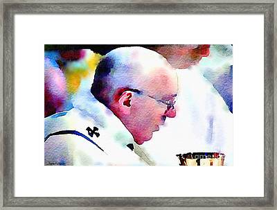 Pope Francis And Cup Framed Print by Denise Haddock