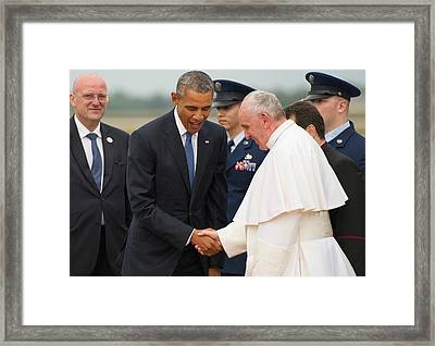 Pope Francis And President Obama Framed Print by Mountain Dreams