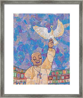 Pope Francis And The Dove  Framed Print by Carol Cole