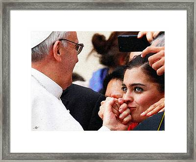 Pope Francis And Woman Painting  Framed Print by Tony Rubino