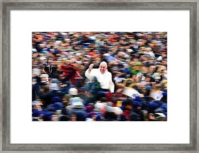 Pope Francis In Crowd Of Faithful Acrylic 1 Framed Print by Tony Rubino