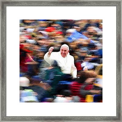 Pope Francis In Crowd Of Faithful Acrylic 3 Framed Print by Tony Rubino