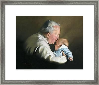 Pope John Paul II With Baby Framed Print