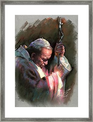 Pope John Paul II Framed Print by Ylli Haruni