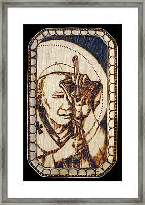 Pope St. John Paul II Pyrograph Framed Print by Melissa Cavaliere