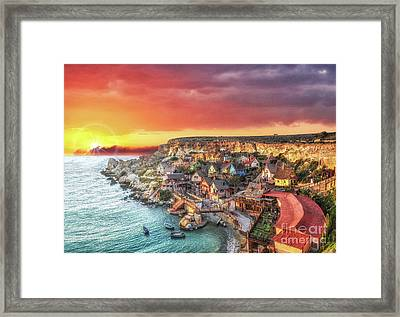 Popeye's Village At Sunset Framed Print by Stephan Grixti
