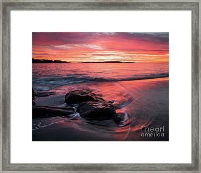 Popham Sunrise Surf Framed Print by Benjamin Williamson