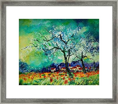 Poppies And Appletrees In Blossom Framed Print by Pol Ledent