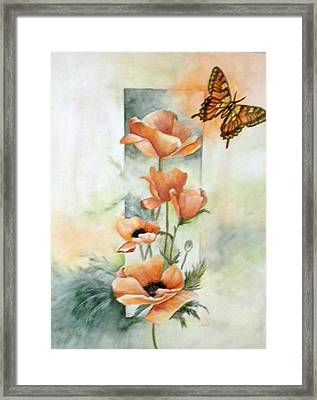 Poppies And Butterfly Framed Print