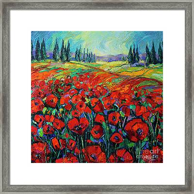 Poppies And Cypresses - Modern Impressionist Palette Knives Oil Painting Framed Print
