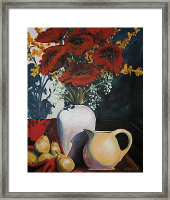 Poppies And Pears Framed Print by Cher Devereaux