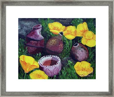 Poppies And Pottery Framed Print by Laura Iverson
