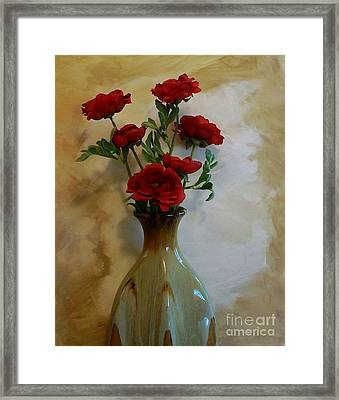 Poppies And Taupe Framed Print