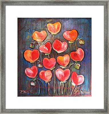Poppies Are Hearts Of Love We Can Give Away Framed Print
