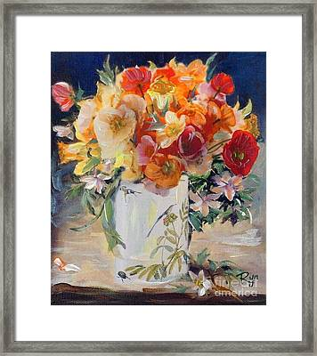 Poppies, Clematis, And Daffodils In Porcelain Vase. Framed Print